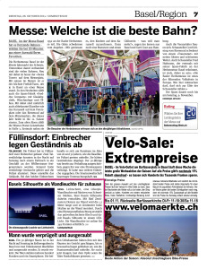 28.10.2014 Beitrag im 20min Ausgabe Basel
